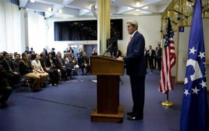 U.S. Secretary of State Kerry delivers a policy address on same-sex spouses applying for U.S. visas in London